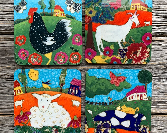 4 Coasters, Set of Coasters, Rooster, Sheep, Cow, Goat, Countryside Landscape, Farm, gift coaster kitchen