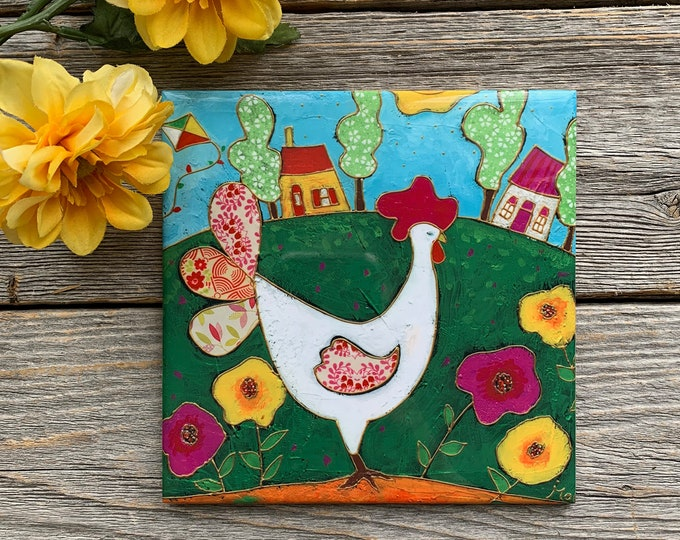 "Colourful Hen ceramic tile, Chicken ceramic,  6""x 6"", white Hen, flower wing, colourful houses, gift lover Hen"