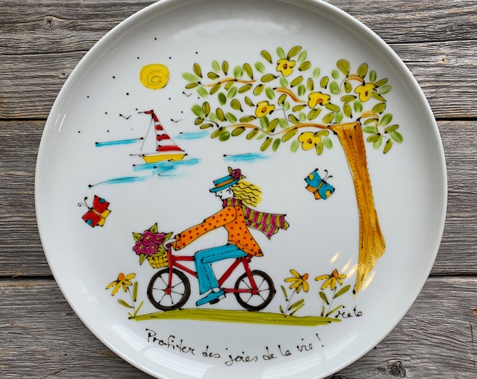 Serving plate, a girl on a bicycle, sailboat, tree, butterfly, flowers, Unique gift, cat lover gift, Hand painted
