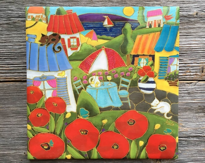 "Ceramic tile, Landscape, flowers, poppy flowers, houses, 6"" x 6"", decoration, square trivet, Art print by Isabelle Malo"
