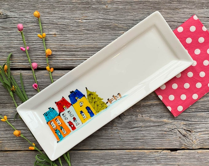 spoon rest, Colourful Houses, Small tray, rectangle small tray, tree houses illustration, hand painted