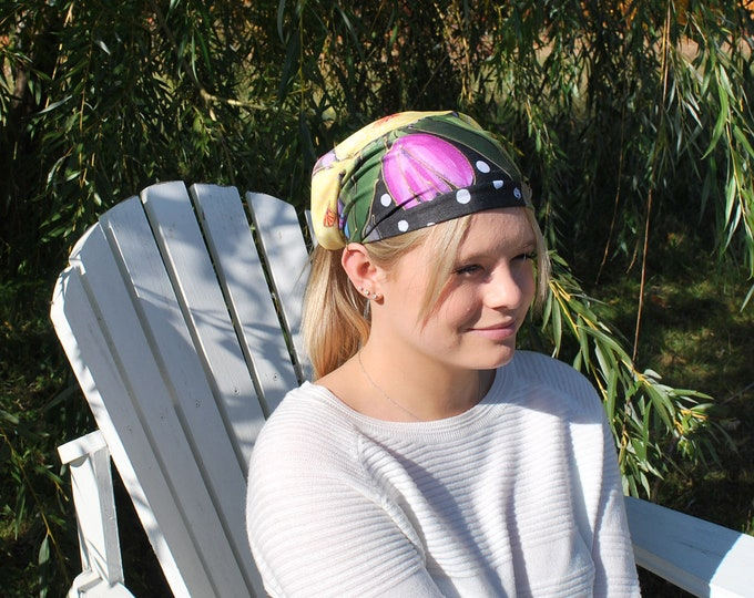 Headband flower,  scarf face warmer, pink flowers, yellow, black, green, for danse, yoga or sport