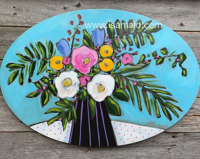 Original acrylic painting, Oval canvas, colourful flowers vase with white, yellow, pink flowers, blue background, home decor