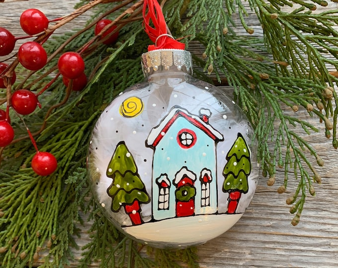 Hand paint, Christmas ball ornement, house in the snow, Christmas tree, Christmas ball, One of a kind, Christmas tree gift