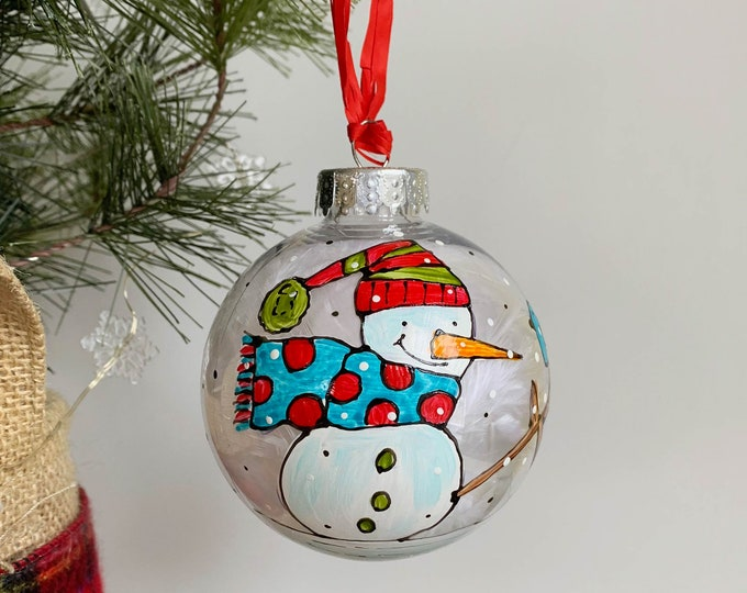 Christmas ball ornement, Snowman, blue and red scarf, green and red beanie, One of a kind, Hand paint Christmas ball, Christmas tree gift