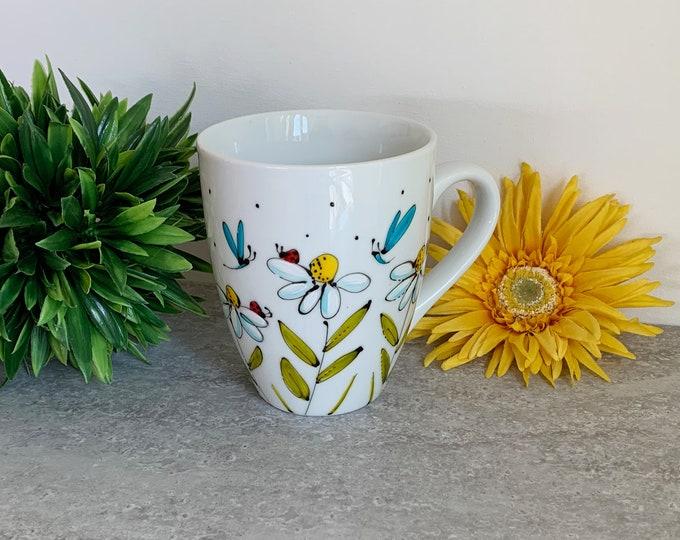 Mug daisy ladybug dragonfly hand painted
