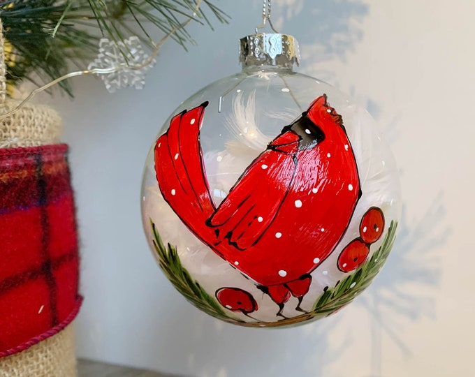 Hand paint, Christmas ball ornement, Red cardinal, tree branch, red berries, Christmas ball, One of a kind, Christmas tree gift