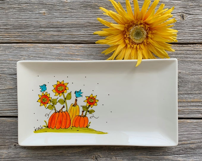 Pumpkins, Sunflowers, ceramic plate,  tray, Fall gift, Halloween gift, Hand painted