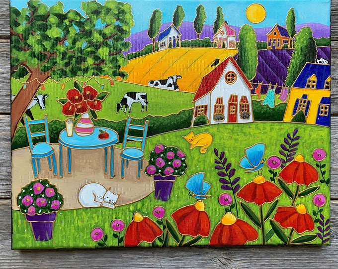 Original acrylic painting on canvas landscape colourful houses cat red flower cow