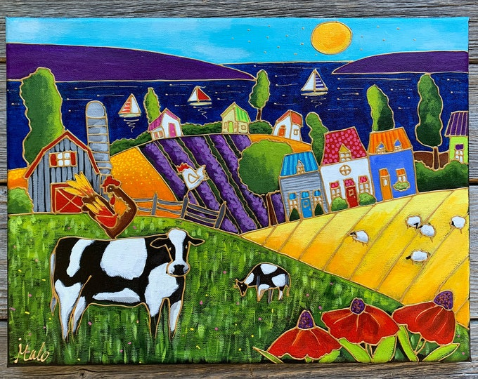 Original acrylic painting, Cow, Rooster, Hen, colourful landscape, flowers, lake, hand paint by artist Isabelle Malo