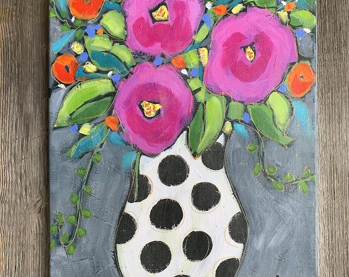 Canvas art print, Giclée art print, Pink flowers, home decor, Art print, Ready to hang, Floral art print