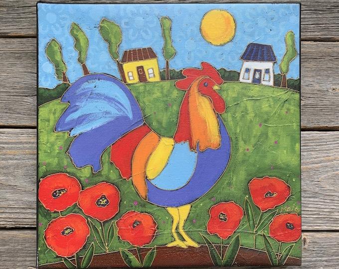 Canvas art print, Giclée art print, Rooster, poppy flower, home decor, Art print, Ready to hang, Rooster art print