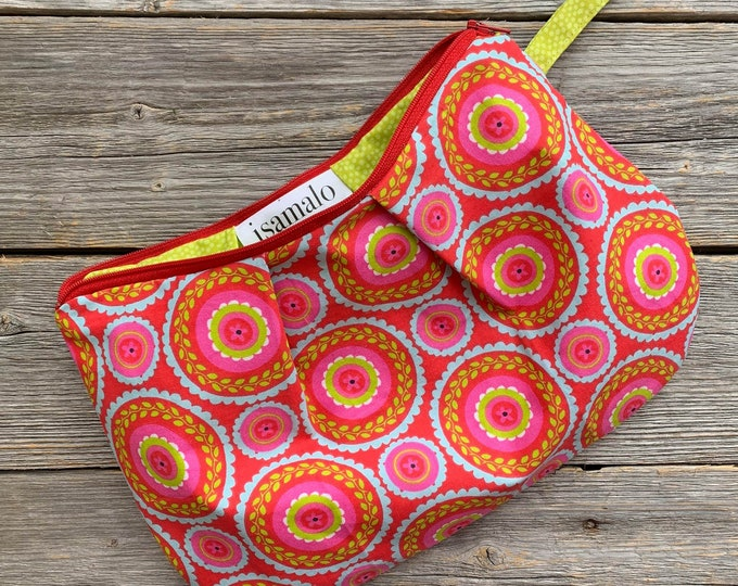 Colourful Cosmetic pouch, Red, pink, blue, Zipper Carry-alls, Pencil zip pouch, storage bag, Hand made