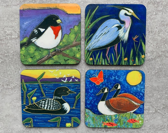 """BIrd Coasters, Set of Coasters 4"""", blue heron, canada goose, rose-breasted cardinal, Loon duck, coaster table, Home decor, kitchen gift"""