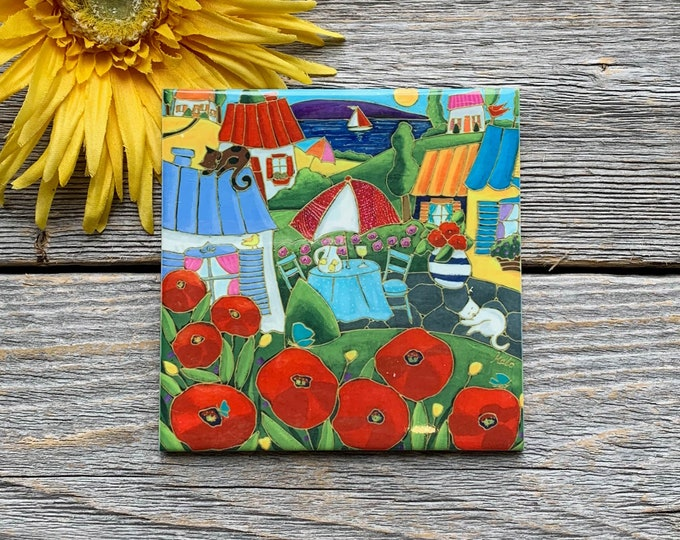 Ceramic tile coaster colourful landscape red poppy