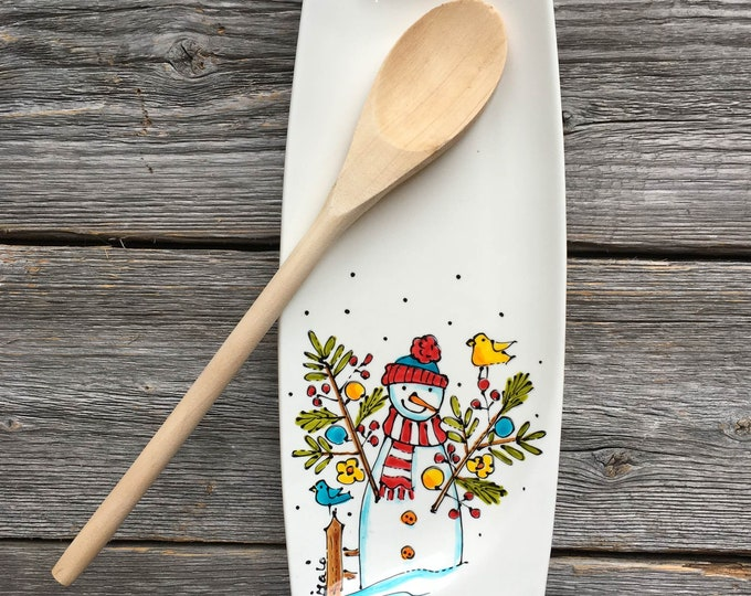 Featured listing image: Spoon rest, Snowman, Small tray, hand painted by isamalo