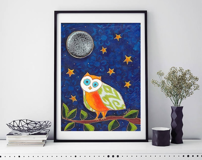 Poster Owl - Art print owl - children room decoration - Owl Wall decoration - Baby shower gift