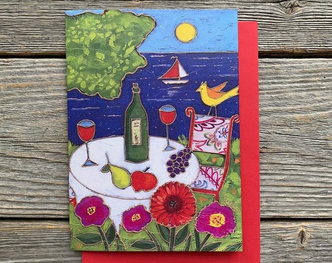 "Greeting card, wine, lake, flower, bird, sea, 4"" x 6"", anniversary card, wishing card, gift card, colourful landscape, folk art gift"