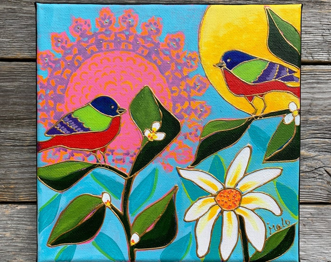 Original acrylic painting, 2 birds, tree colors birds, flowers, sun, white flowers, hand paint by artist Isabelle Malo