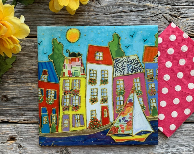Ceramic tile wall Art, Colourful houses, sailboat, square trivet, ceramic frame, wall art ceramic
