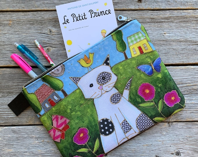 Carry All Zipper pouch, Cat, Cosmetic pouch, travel friendly, storage bag, mini iPad or small tablette