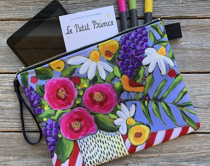 Large Carry All Zipper pouch, Colourful flowers, pink, purple, yellow, flower, Cosmetic pouch, travel friendly, storage bag, small tablette