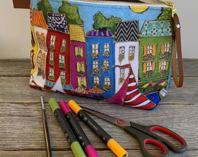 Cosmetic pouch zipper flower make up bag colourful house sailboat for woman