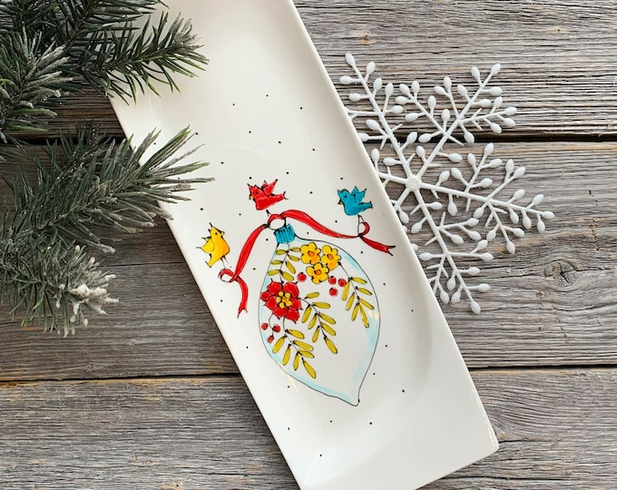 Featured listing image: Spoon rest, Christmas ball, birds, Christmas flowers, Small tray, Christmas gift, hand painted by isamalo