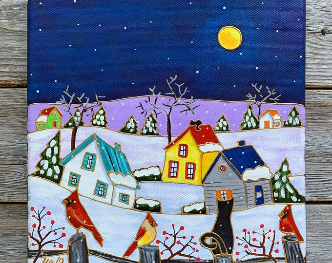 Original acrylic painting on canvas, Winter scene painting, cardinal bird, cat, moon, home decor by artist Isabelle Malo