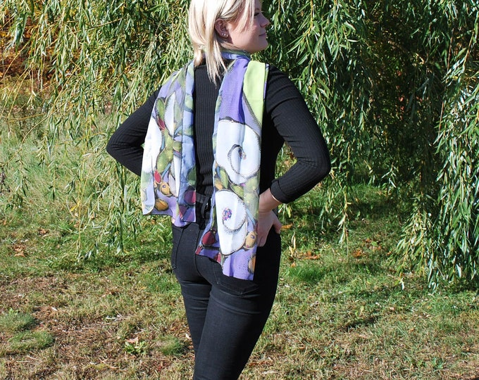 Flower long Woman Scarf, Printed scarf, Colourful square scarf, Art scarf, white flowers, purple and lime background, gift for her