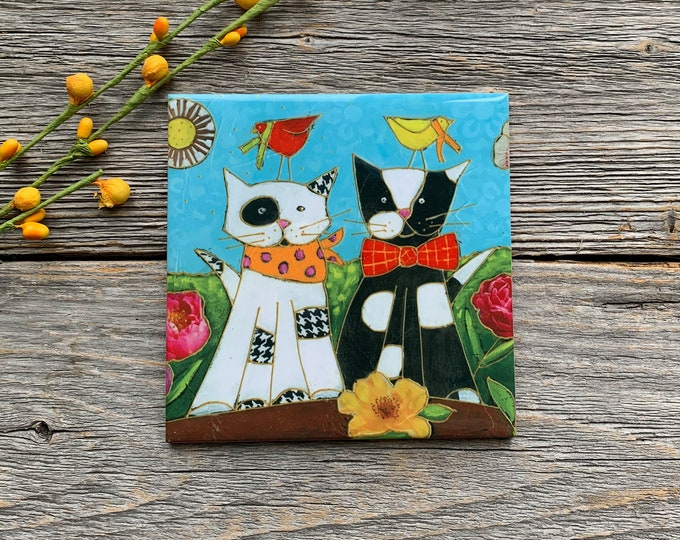 Ceramic tile Coaster, 2 CATs , White Cat, black cat, bird, square trivet, art print tile, cat lover gift