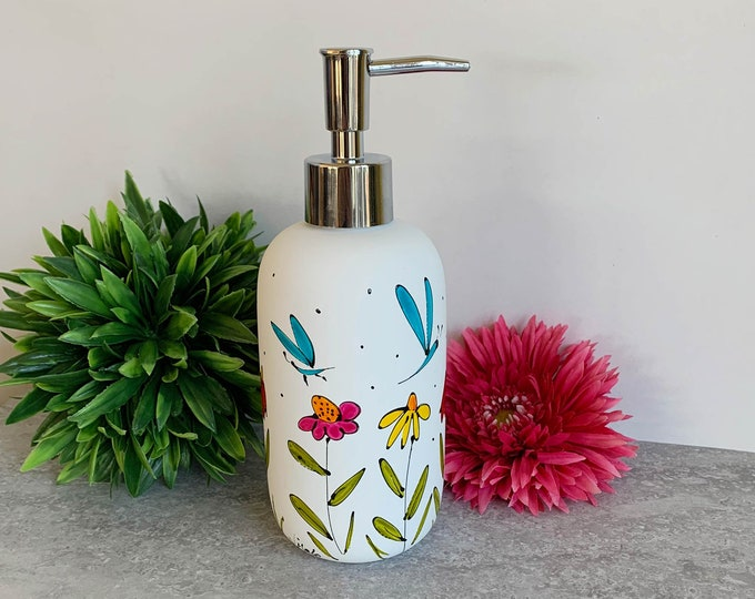 Soap dispenser white mat porcelain flower dragonfly hand painted