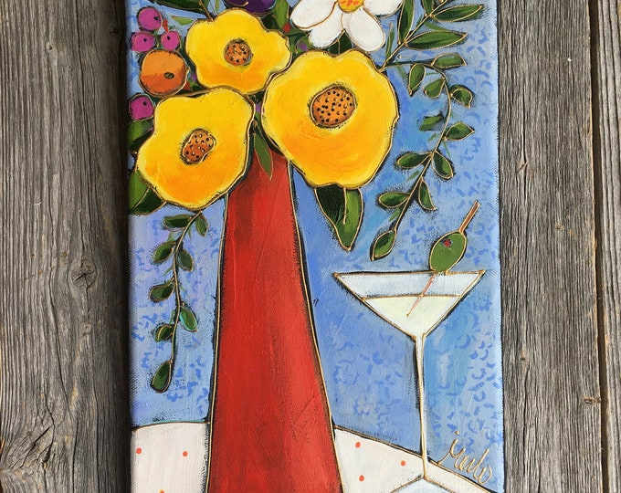Original acrylic painting on canvas, Yellow flowers, red vase, martini drink, blue background, home decor, hand painted