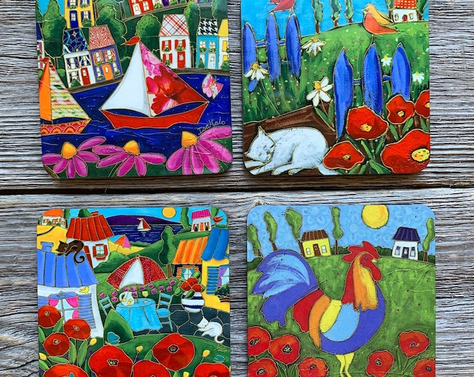 Coasters, 4 Set of Coasters, Countryside Landscape, colourful houses, rooster, sailboat, cat, flowers, gift coaster kitchen