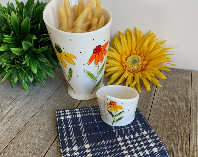 Dipping cone white Porcelain, small bowl sauce, french fries, vegetable, fruits, flower design, Unique gift, Hand painted