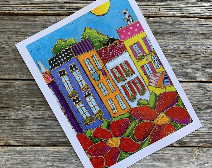 Art print, Colourful houses, red flowers, Wall art, home decoration, Unique design gift, wall Art decoration