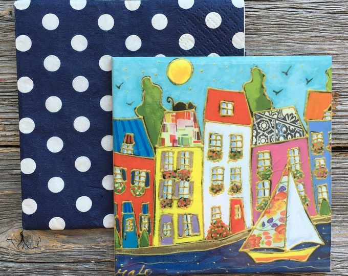 Art print Coaster, Colourful houses, Ceramic tile, square trivet, Art print coaster