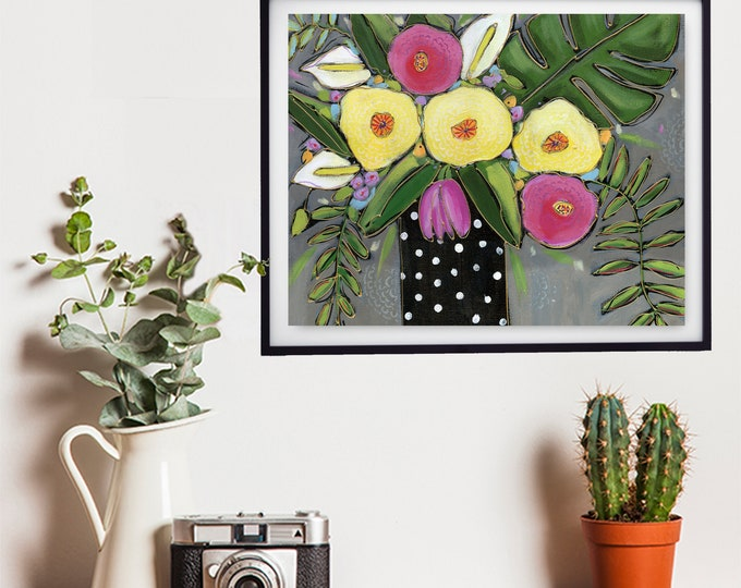 Art print, black flowers vase, yellow, pink and white flower, grey background, Wall art, home decoration, wall Art decoration