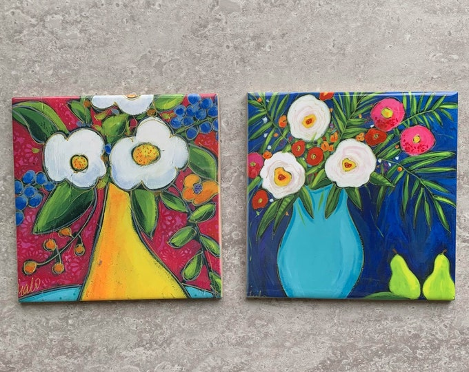 Set of 2 Ceramic tiles, Coaster, blue and yellow Flower vase, white and pink flowers, blue background, Trivet flowers