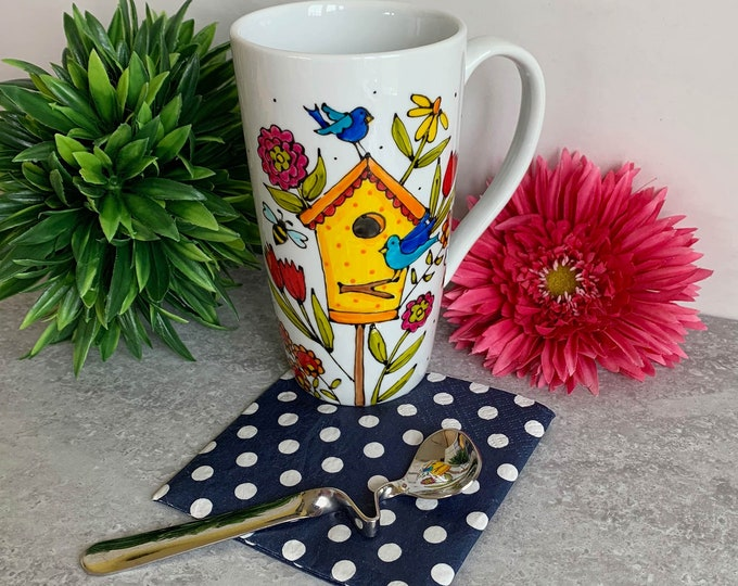 Tall mug birdhouse bird bee colourful flower hand painted