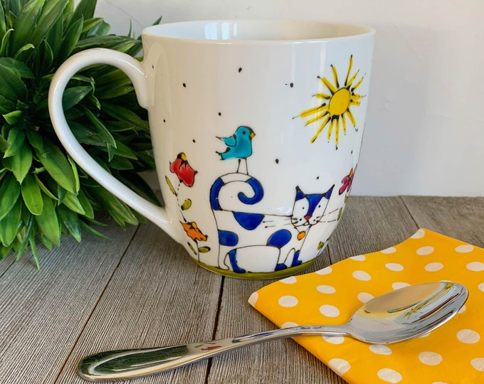Featured listing image: MUG, Coffee, Tea, tall Mug Porcelain, 3 Cats, 16 oz, Unique gift, Hand painted by isamalo