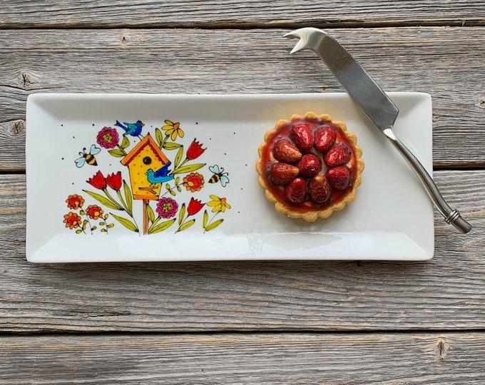 rectangle porcelain plate bird house blue bird bee flower tray kitchen hand paint