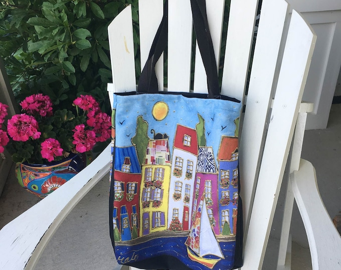 Featured listing image: Colourful houses Italy inspiration Tote bag, Canvas bag, shopping bag, Eco friendly bag
