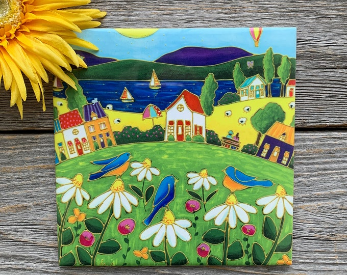 Ceramic tile wall Art, 3 blue bird, Colourful houses, daisy, square trivet, ceramic frame, art ceramic