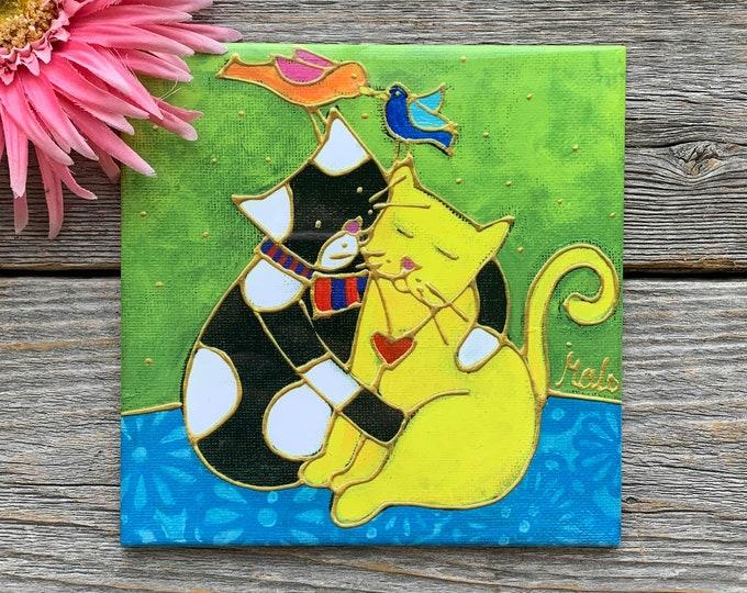 Ceramic tile trivet cat black white cat yellow cat