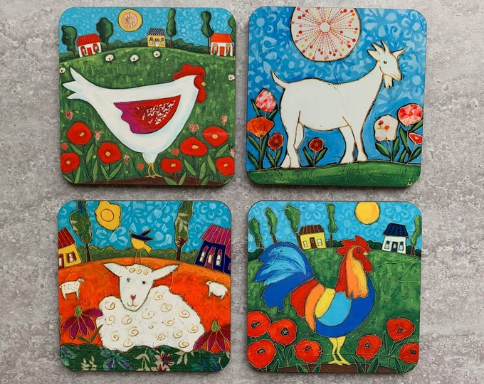 Coasters, 4 Set of Coasters, Countryside Landscape, rooster, sheep, goat, cow, gift coaster kitchen