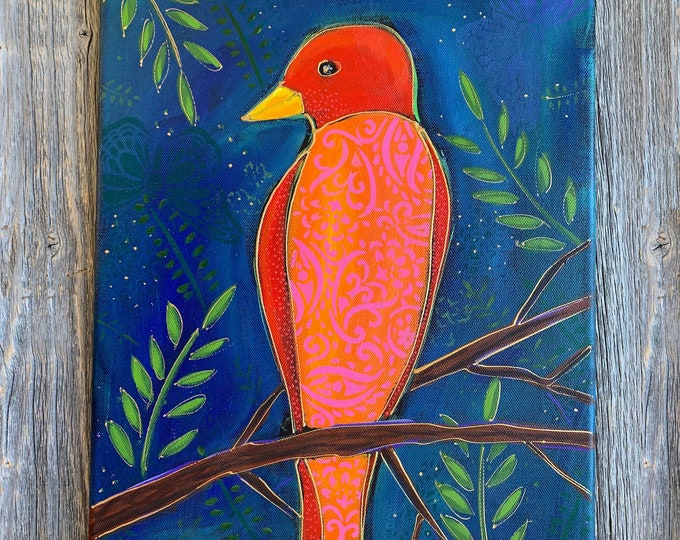 Original acrylic painting orange and red Bird
