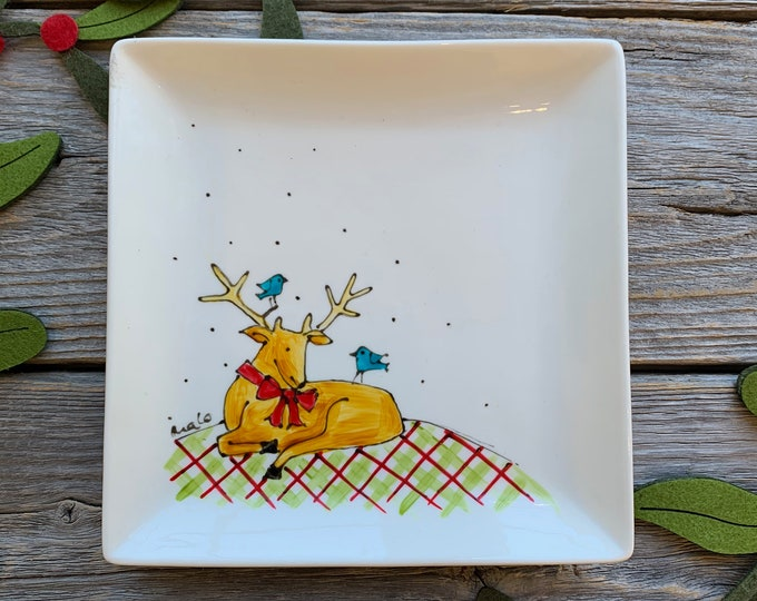 Square porcelain plate, Christmas deer, bird, unique gift, Christmas plate gift, Hand painted