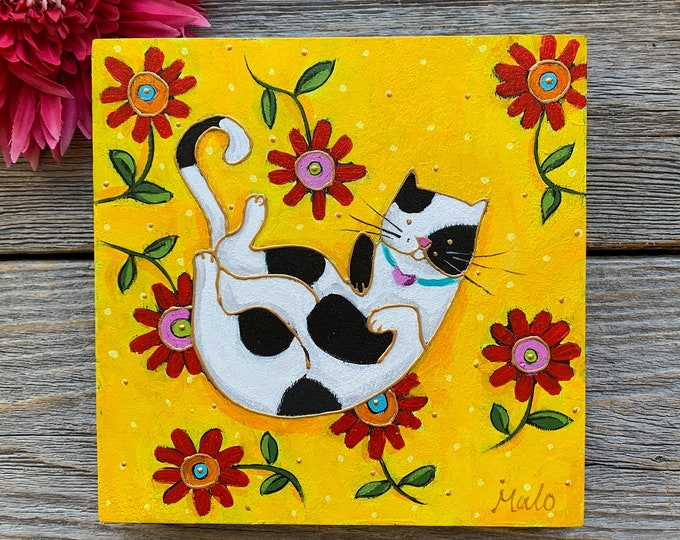 Original acrylic painting on wood frame, black and white Cat, red flowers, yellow background, hand paint by artist Isabelle Malo