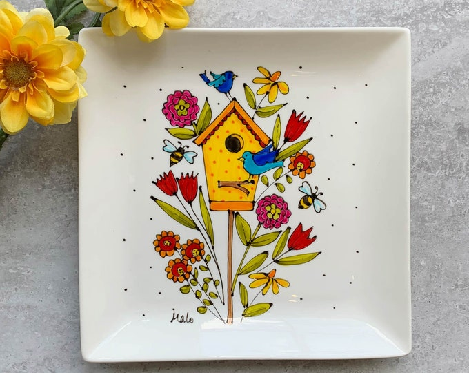 Square porcelain plate birdhouse bird bee flower hand painted